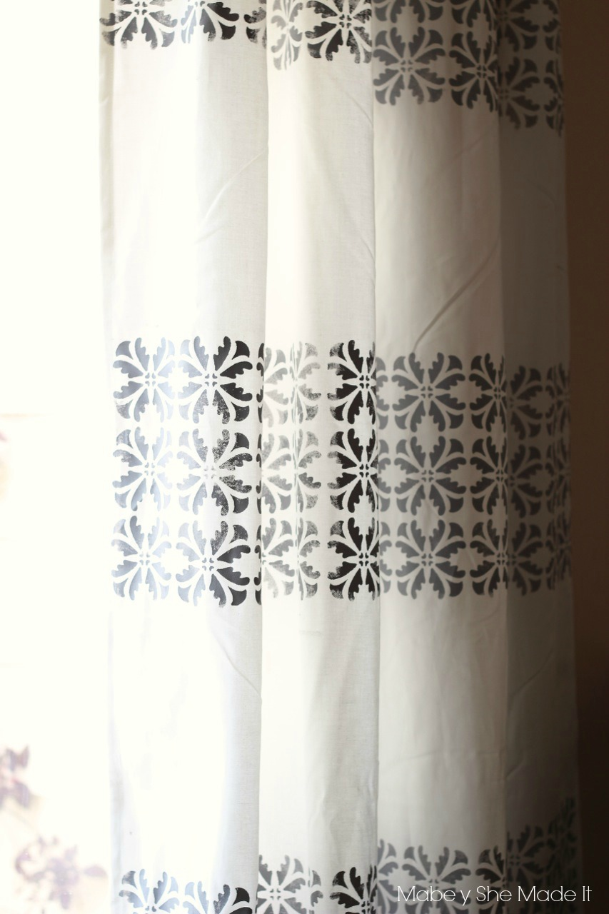 DIY Stenciled Curtains  Mabey She Made It
