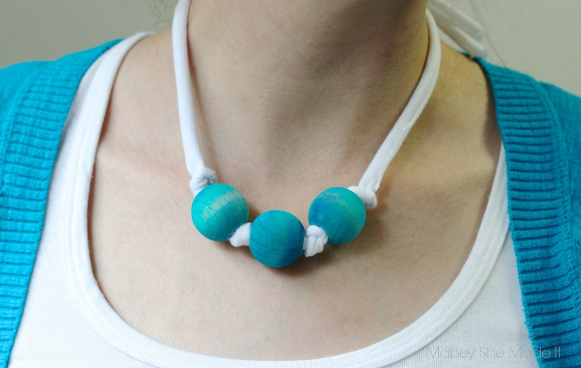 Tie Dye Bead Necklaces   Mabey She Made It   #tdys #tiedyeyoursummer #necklace #jewlery #dye