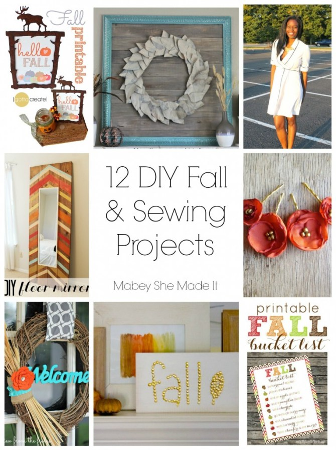 12 DIY Fall and Sewing Projects Roundup from Do Tell Tuesday party | Mabey She Made It | #features #wreath #falldecor #sewing #printable