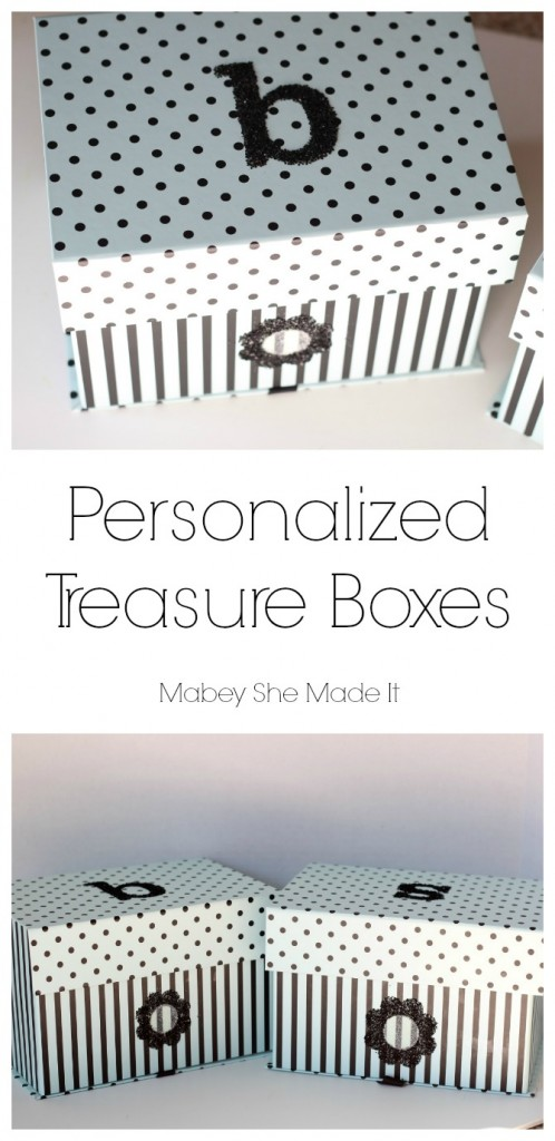 Personalized Treasure Box | Mabey She Made It | #glitter #treasurebox #personalization #monogram