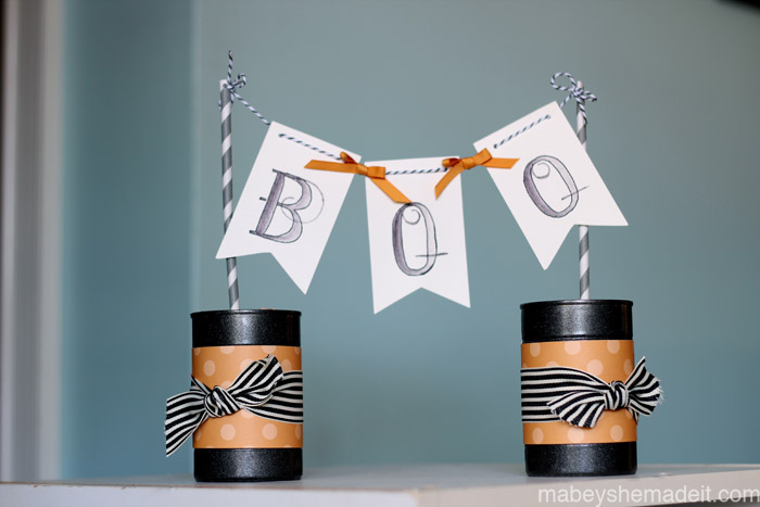 Boo Pennant Cans | Mabey She Made It | #halloween #pennants #watercoloring #party
