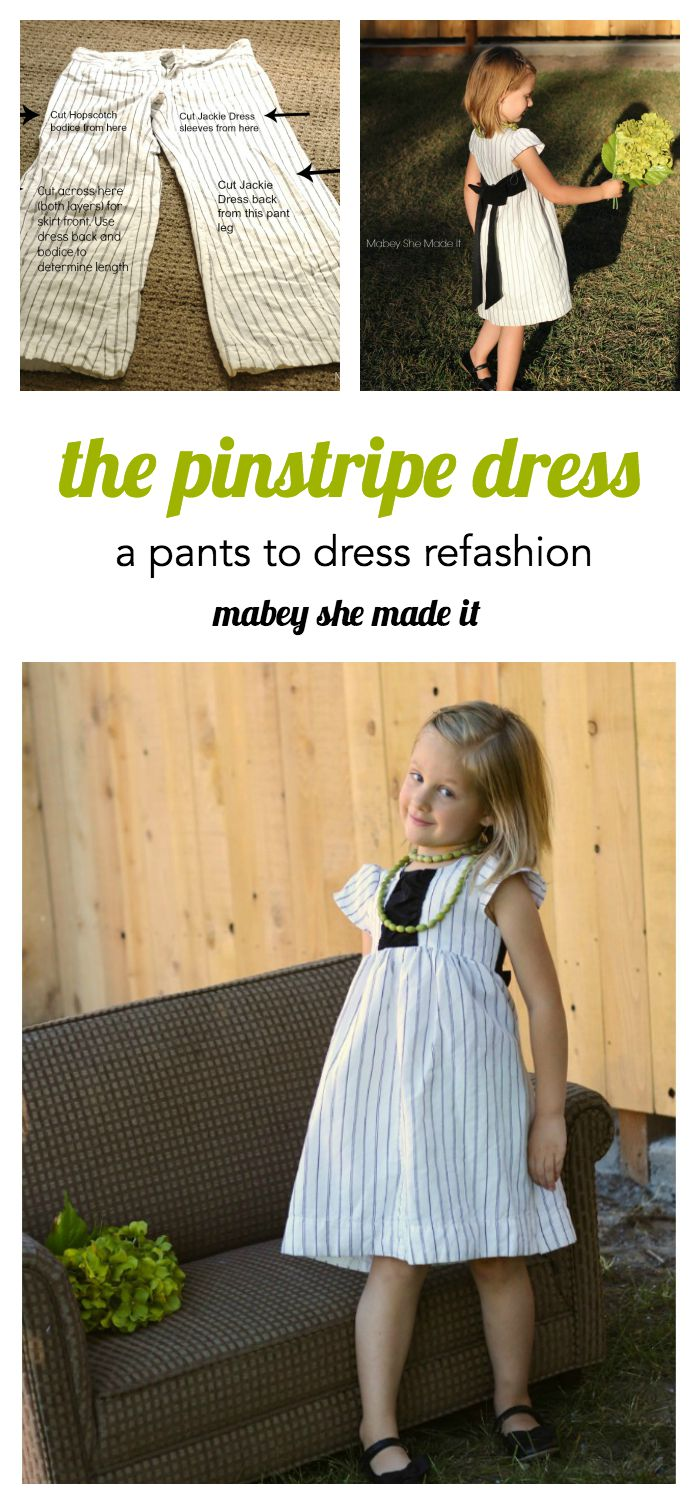 cutest. dress. ever. And it came from a pair of pants! This refashion tutorial shows you how to create the Pinstripe Dress from a pair of trousers. You'll love the details.