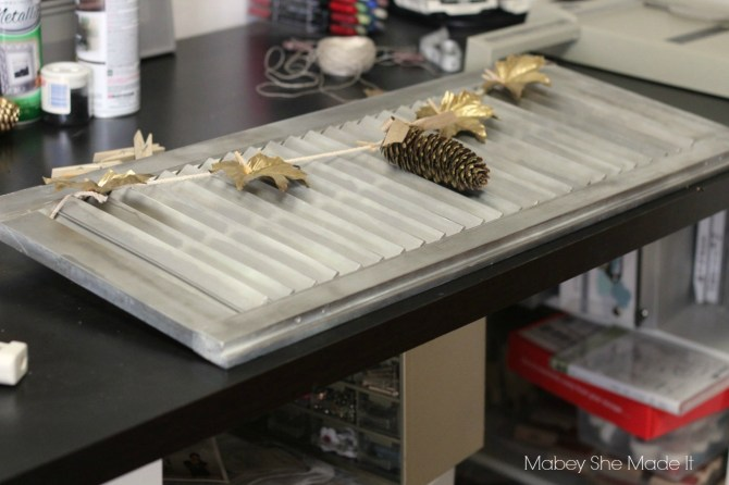 Silver and Gold Shutter Display | Mabey She Made It | #silver #gold #shutter #fallharvestideas