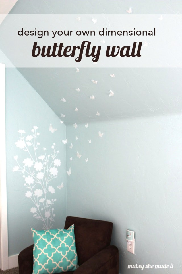 This butterfly wall design is perfect for a little girl's room. And the 3-d butterflies make it feel magical!