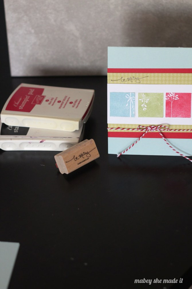 Be Merry Christmas Card   Mabey She Made It   #christmas #christmascard #stamping