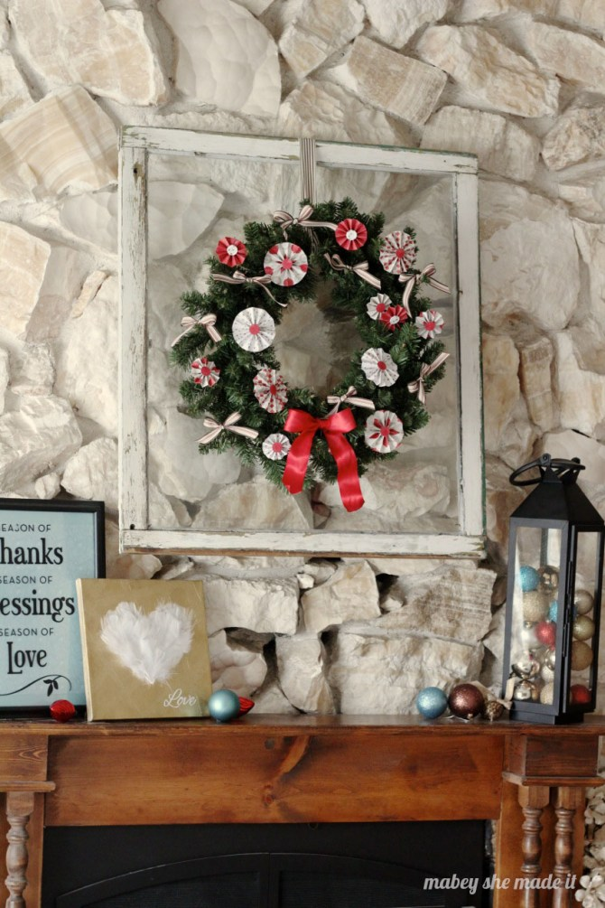 Medallion Christmas Wreath | Mabey She Made It for Pinkwhen | #christmas #wreath #medallion