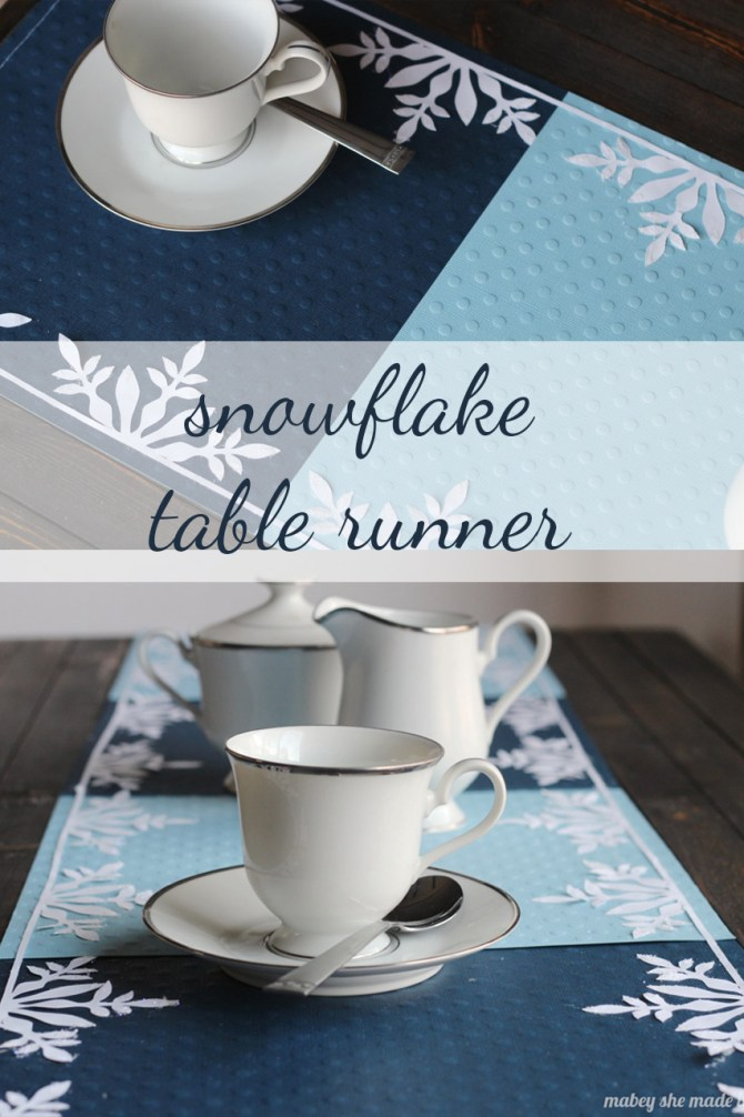 Frozen Snowflake Table Runner | Mabey She Made It | #winter #frozen #snowflakes #silhouette
