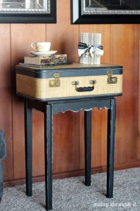 Vintage Suitcase Table Makeover | Mabey She Made It | #furniture #homedecor #suitcasetable