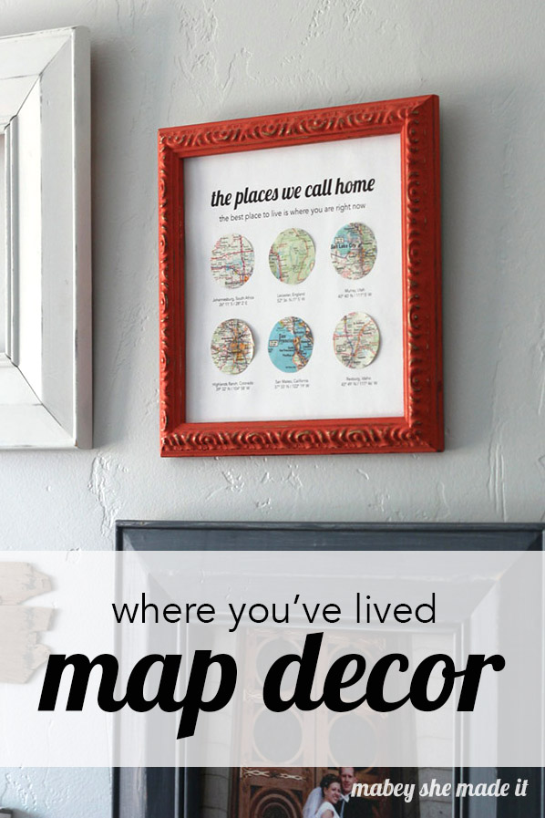 Oh, the places you've lived! Make a meaningful wall hanging with all the places you've lived. It's really simple, and there's a free template too.