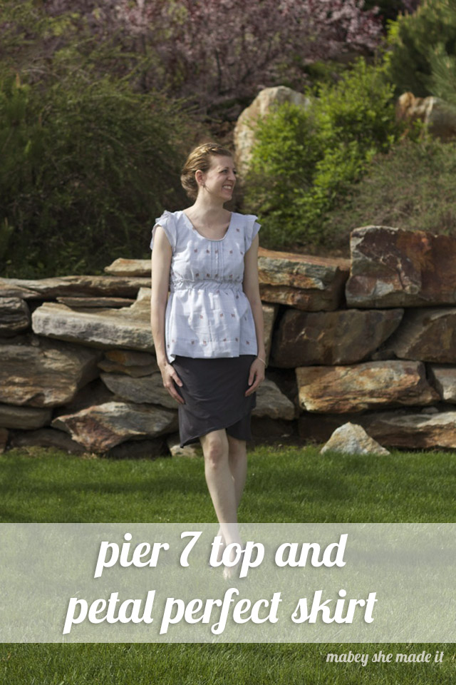 Pier 7 top and Perfect Petal skirt from the Women's Bundle Up pattern sale.