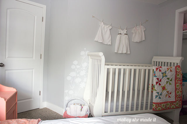 Mabey Manor Coral, Gray, and White Nursery Reveal