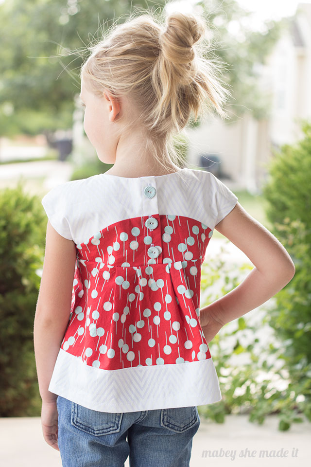 You won't find a cuter tunic than this one! I would dress my little girl in it every day if she'd let me. Maggie Mae tunic sewn by Mabey She Made It