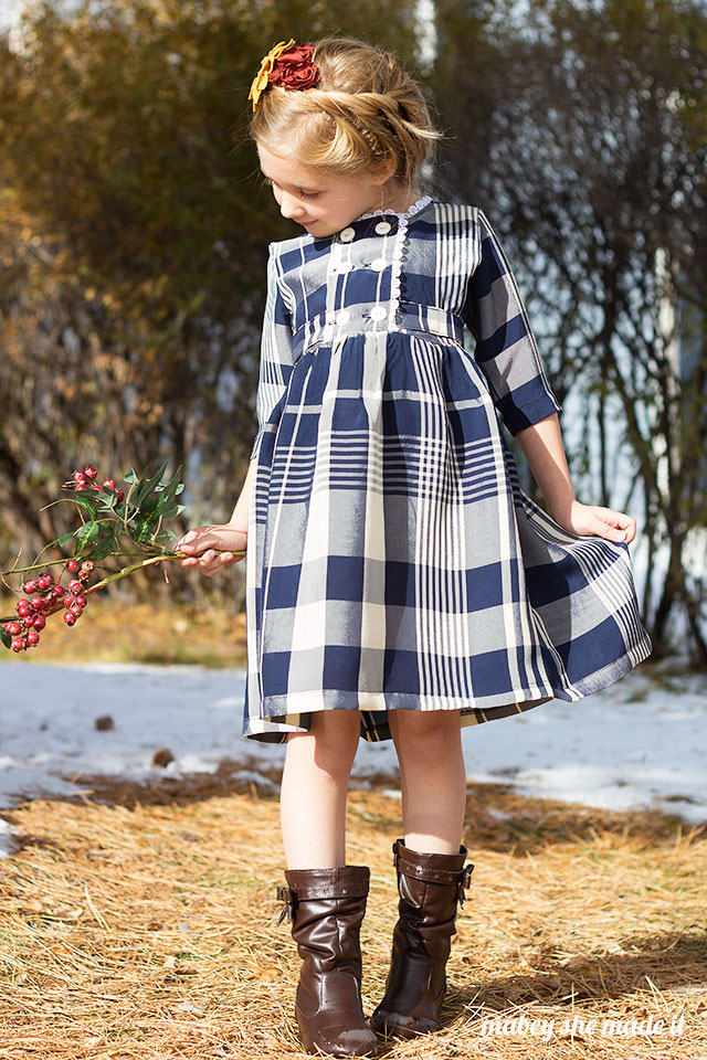 I heart this! This would make a darling Christmas dress or really for any time of year. Charlotte Dress and Jacket pattern sewn by Mabey She Made it