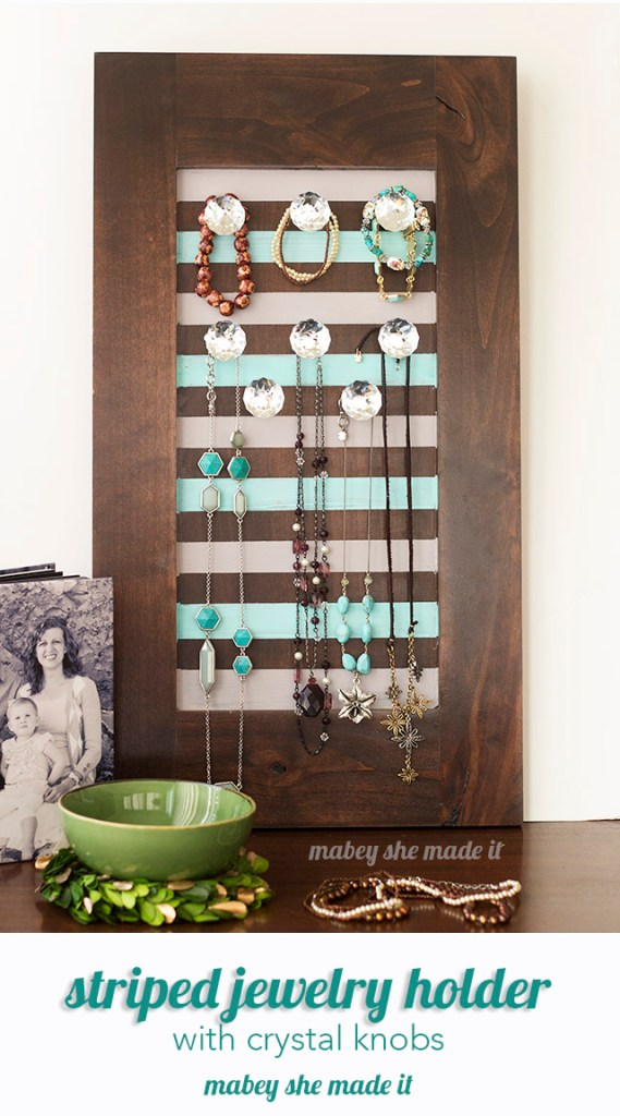 Simple and classy striped jewelry holder from a cabinet door!