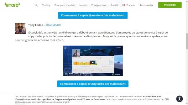 Page site eToro - Exemple Popular Investor