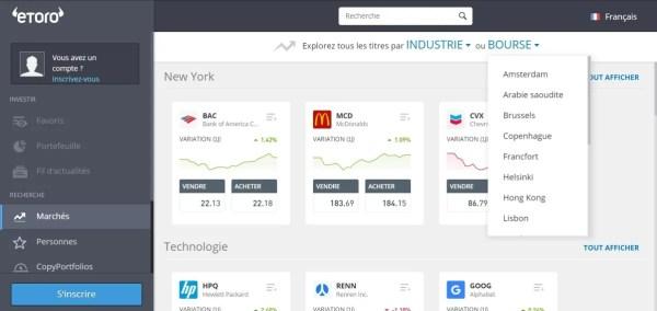 Plateforme trading eToro - Places boursières