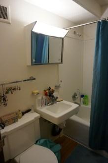 La (petite) salle de bain et la fin du suspens sur le choix du rideau de douche !