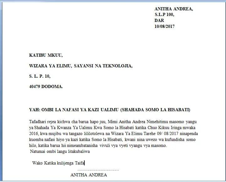Update Barua Za Maombi Ya Kazi Kwa Kiswahili Mfano Wa