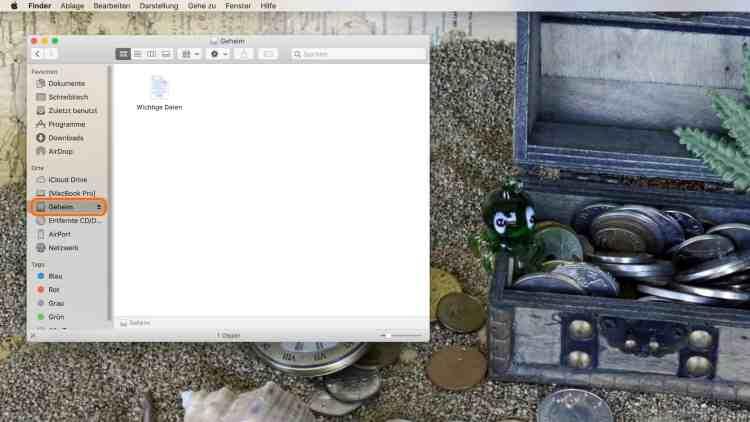 """Wird das DMG-Image geöffnet, erscheint ein separates Laufwerk (z. B. """"Geheim""""), welches nach Gebrauch wieder ausgeworfen werden kann"""