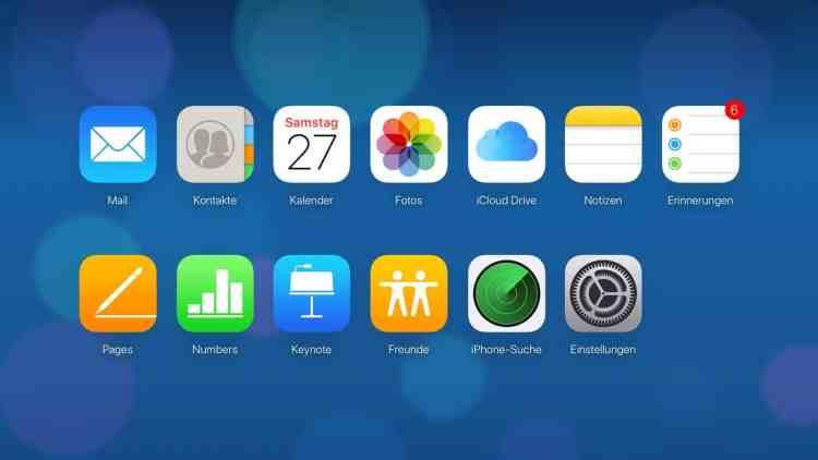 iCloud-com Web-Apps Übersicht