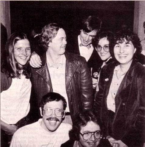 Rony Sebok, Burrell Smith, Steve Jobs, Joanna Hoffman and Hasmig Seropian; kneeling is Bill Atkinson and Andy Hertzfeld