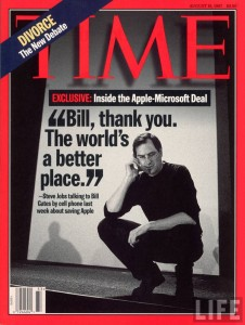 """Bill, thank you"" - Steve Jobs on the cover of Time Magazine"
