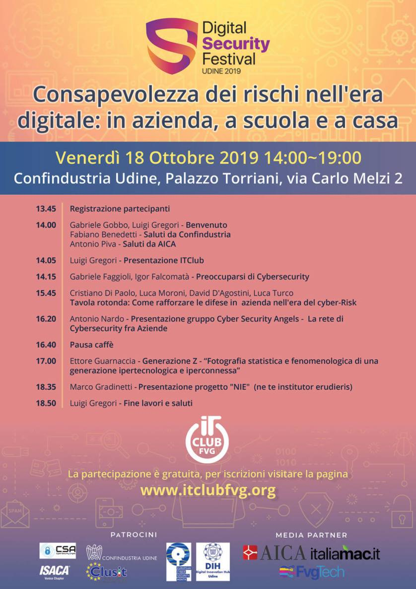 locandina itc digital security Gabriele Gobbo moderatore del Digital Security Festival 2019 di Udine