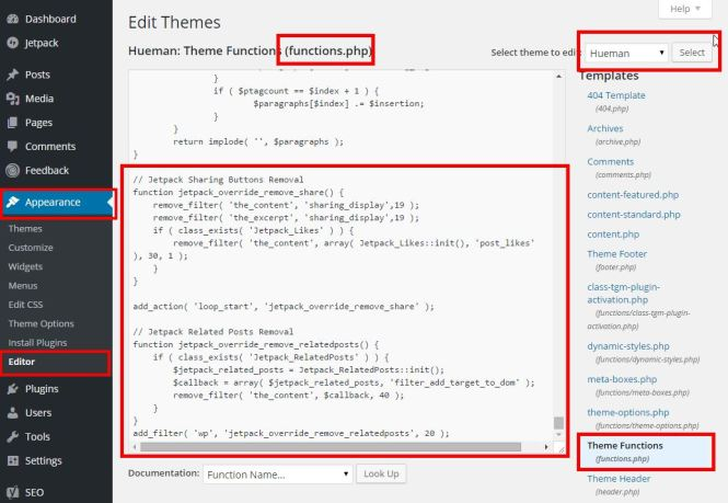 update functions.php