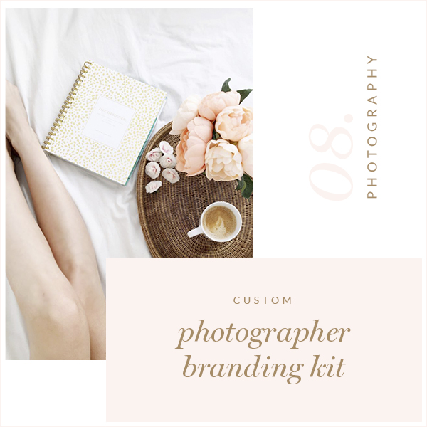 Watercolor Logo Design, Custom Logo, Rose Gold Photography Branding Kit, Premade branding package