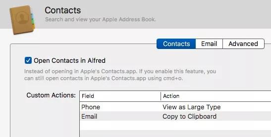 Alfred custom settings