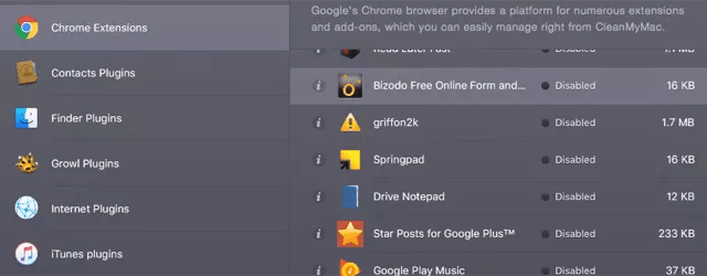 CleanMyMac Chrome extensions