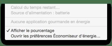 MacBook probleme batterie calcul du temps restant