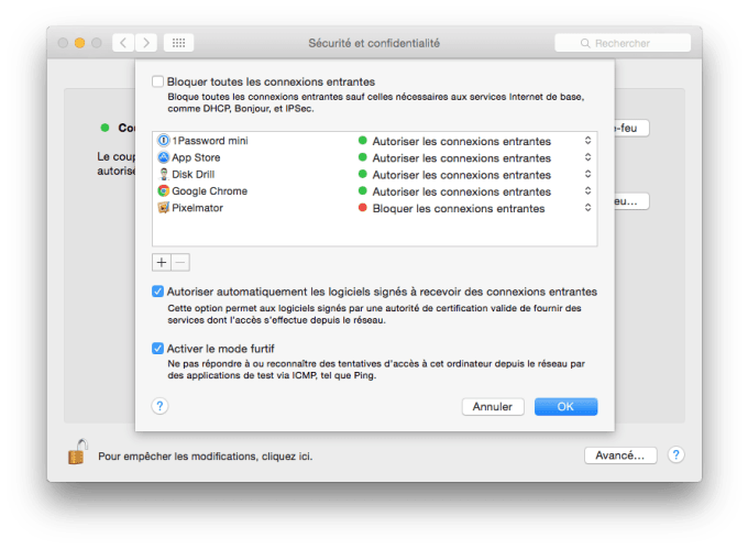 mac os x el capitan firewall mode furtif