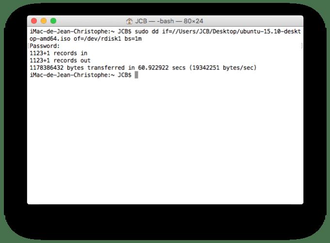 Dual boot Mac OS X El Capitan copier ubuntu sur la cle