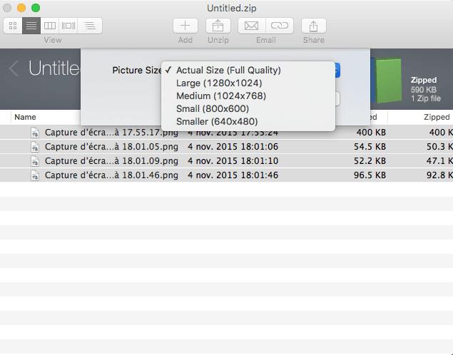 decompresser les zip sur mac envoyer par mail choix taille