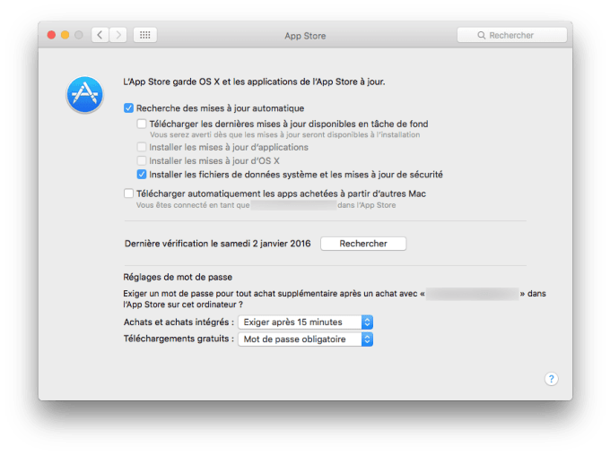 mac app store configuration securite uniquement