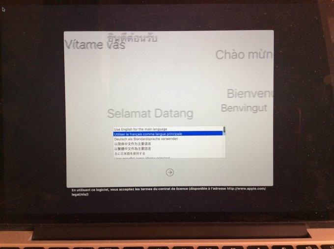 reinstaller un macbook choix langue