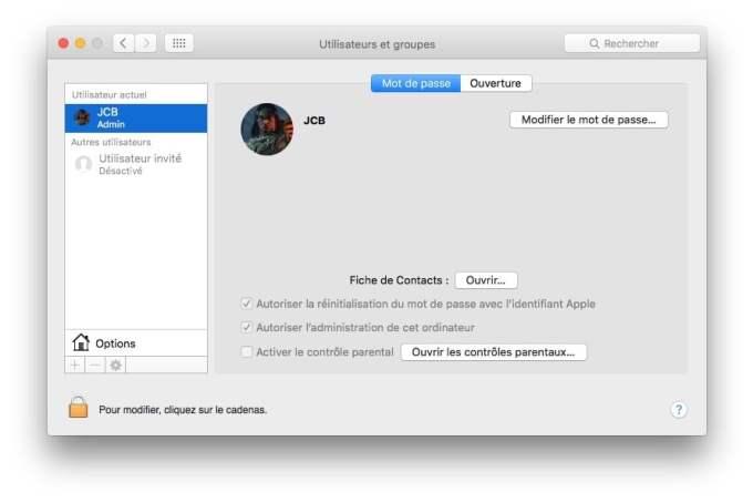 ouvrir son mac sans mot de passe options