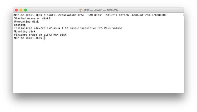 RAM Disk sur mac creation terminal