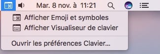 clavier virtuel macOS Sierra afficher emoji et visualiseur
