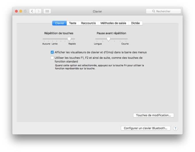 clavier virtuel macOS Sierra visualiseurs de clavier