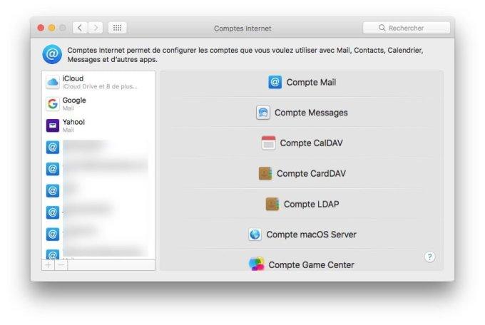 Configurer un compte Apple Mail compte Mail