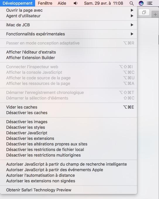 Reinitialiser Safari Mac vider les caches menu developpeur