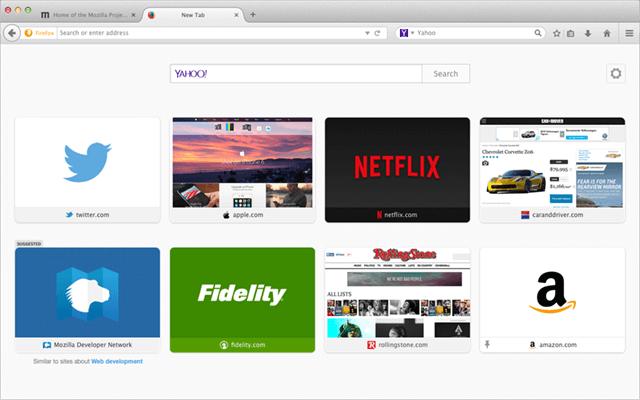 Firefox tab - Visualizza i siti principali