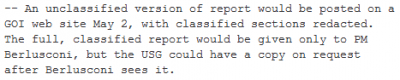 -- An unclassified version of report would be posted on a GOI web site May 2, with classified sections redacted. The full, classified report would be given only to PM Berlusconi, but the USG could have a copy on request after Berlusconi sees it.