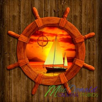 Nautical sailboat and sunset.
