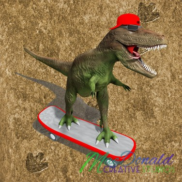 T-Rex on a skateboard