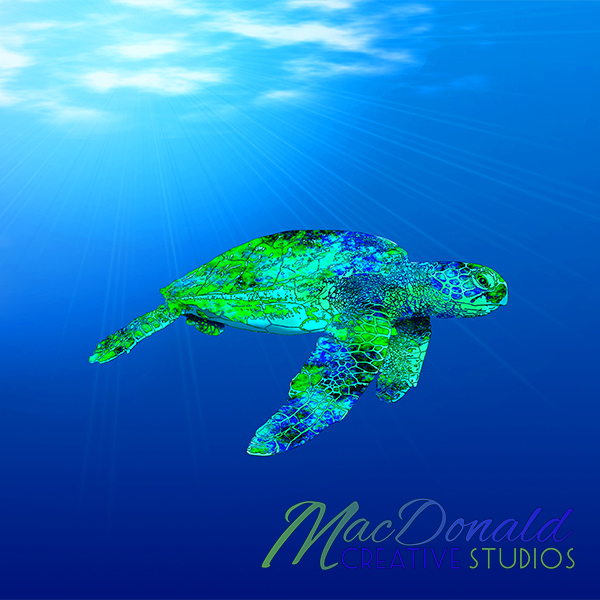 Digital painting of a endangered green sea turtle