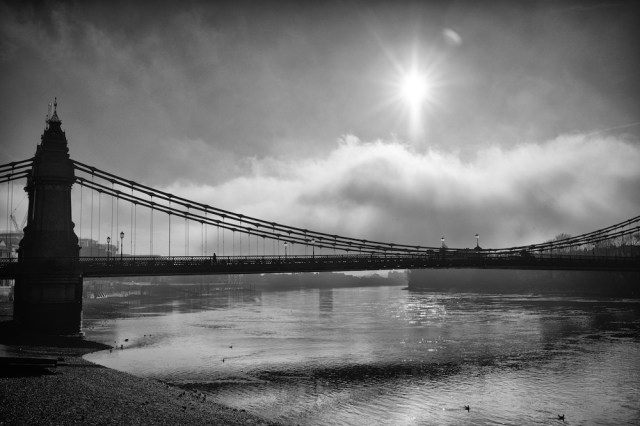 Hammersmith Bridge and the Thames waters which still conceal the Doves Type. All photographs in this article copyright of Mike Evans