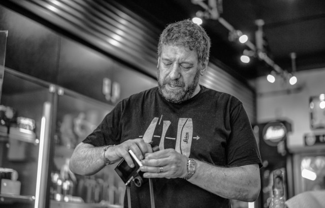 Ivor Cooper of Red Dot Cameras demonstrates how to fix the unique Leica T strap pillars. Since there was only one T to play with, this shot was taken with my Leica M and 50mm Summilux ASPH (at ISO 1250).